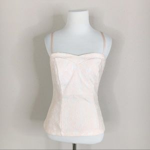 Cache Pink and White Floral Lace Bustier Tank Top
